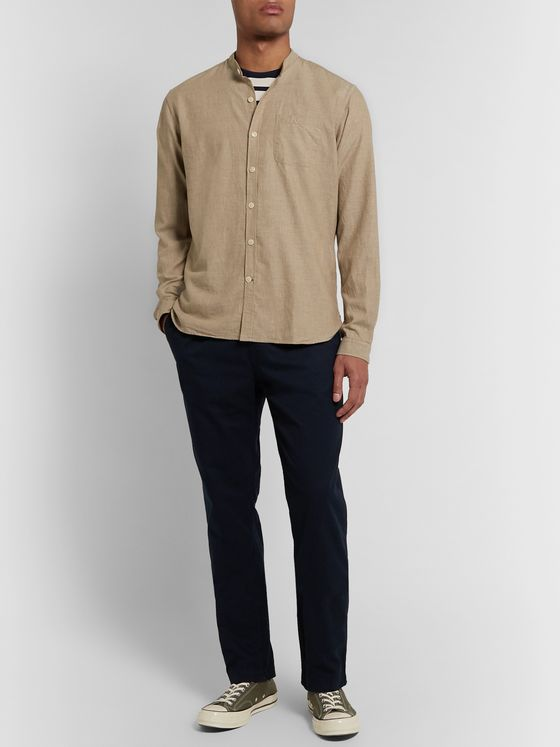 Oliver Spencer Grandad-Collar Cotton-Twill Shirt