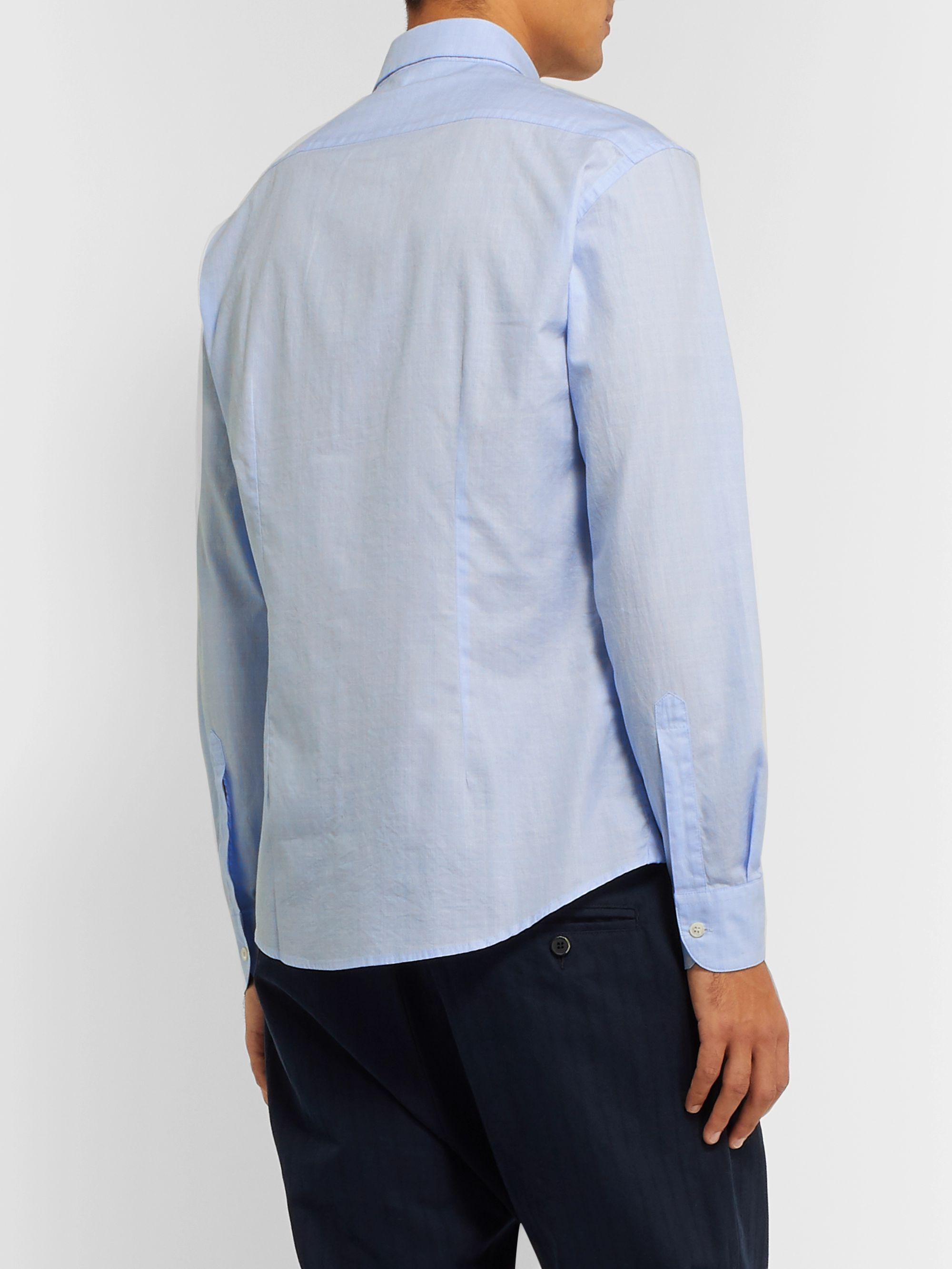 Barena Slim-Fit Checked Cotton-Poplin Shirt
