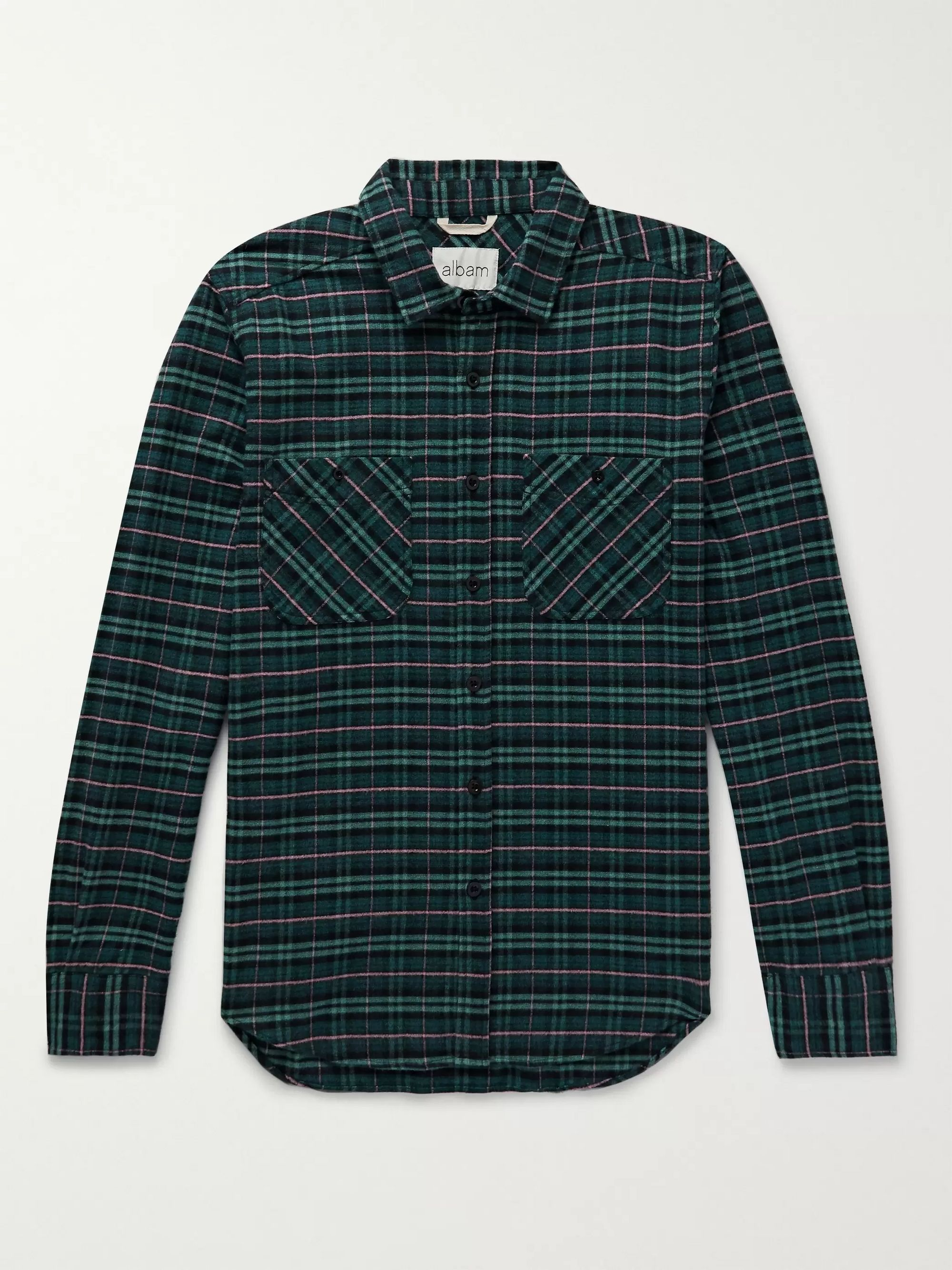Albam Checked Cotton-Flannel Shirt