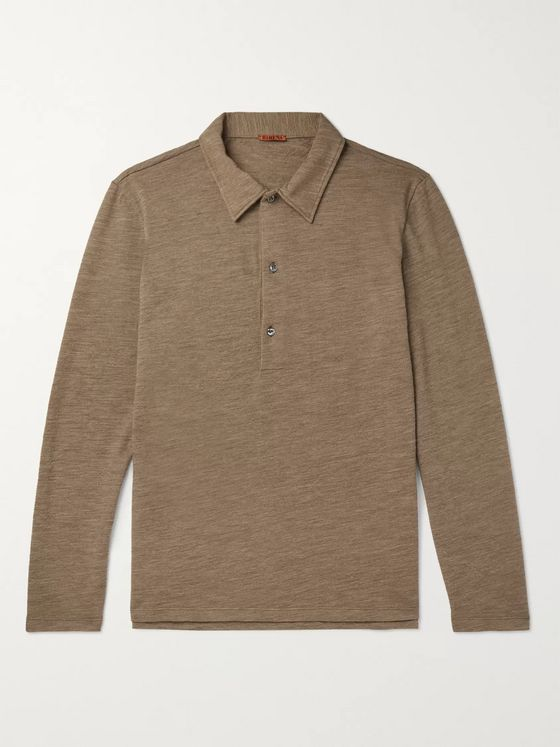 Barena Matana Mélange Wool-Blend Polo Shirt