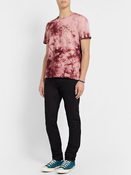 Nudie Jeans Roy Logo-Print Tie-Dyed Cotton-Jersey T-Shirt