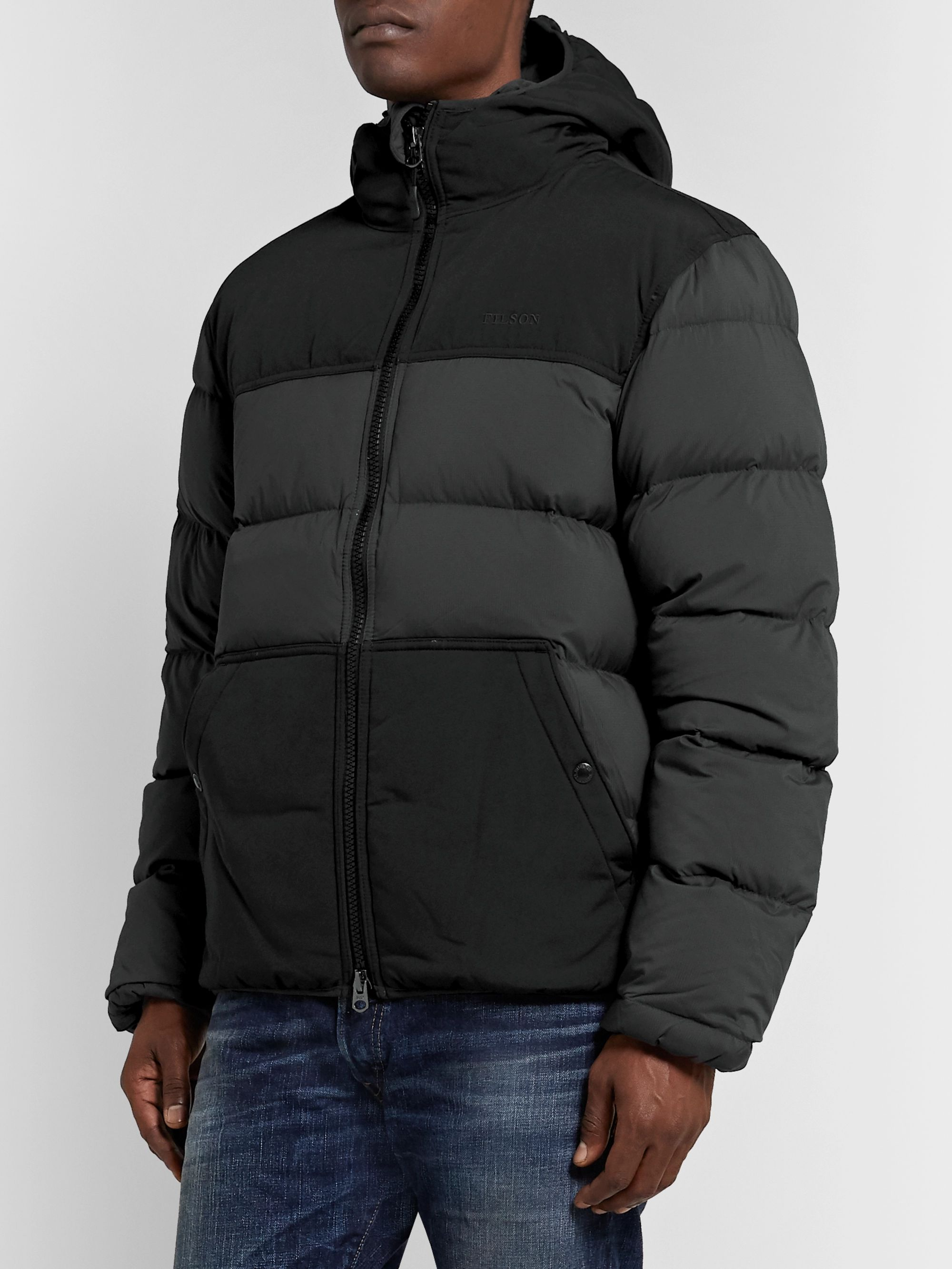 Black Featherweight Canvas Trimmed Quilted Nylon Hooded