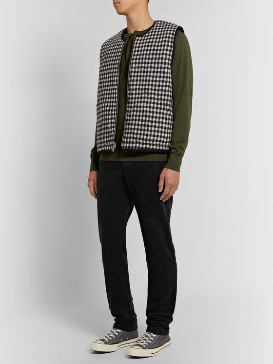 YMC Black Déjà Vu Tapered Garment-Dyed Waffle-Knit Cotton Trousers