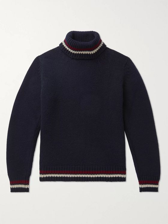 Kingsman Slim-Fit Striped-Trimmed Wool and Cashmere-Blend Rollneck Sweater