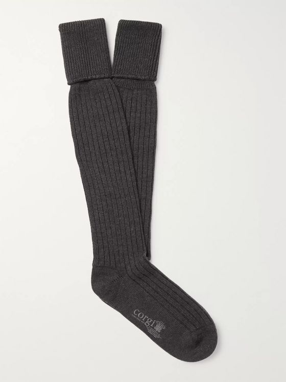 Kingsman Ribbed Wool and Cotton-Blend Socks