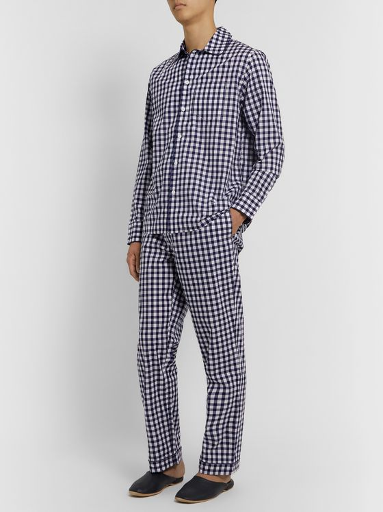 Sleepy Jones Henry Piped Gingham Cotton-Poplin Pyjama Set