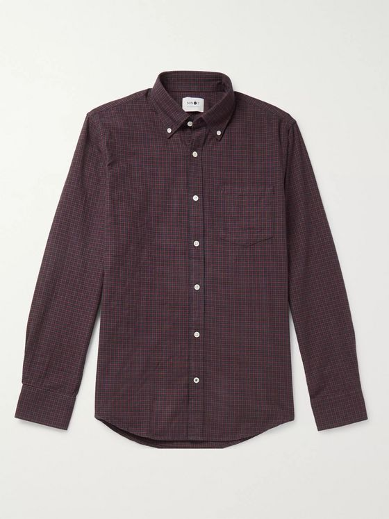 NN07 Levon Button-Down Collar Checked Cotton-Flannel Shirt