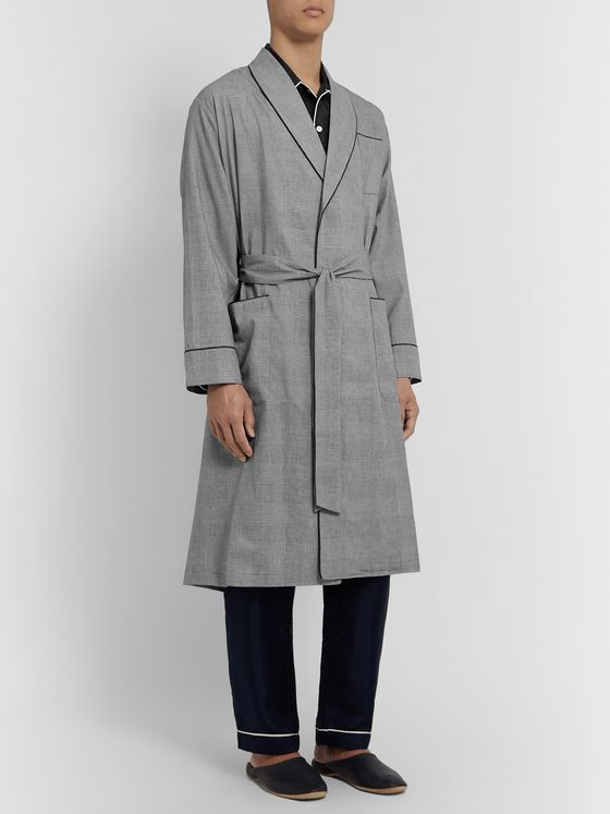 Sleepy Jones Glenn Checked Cotton-Poplin Robe