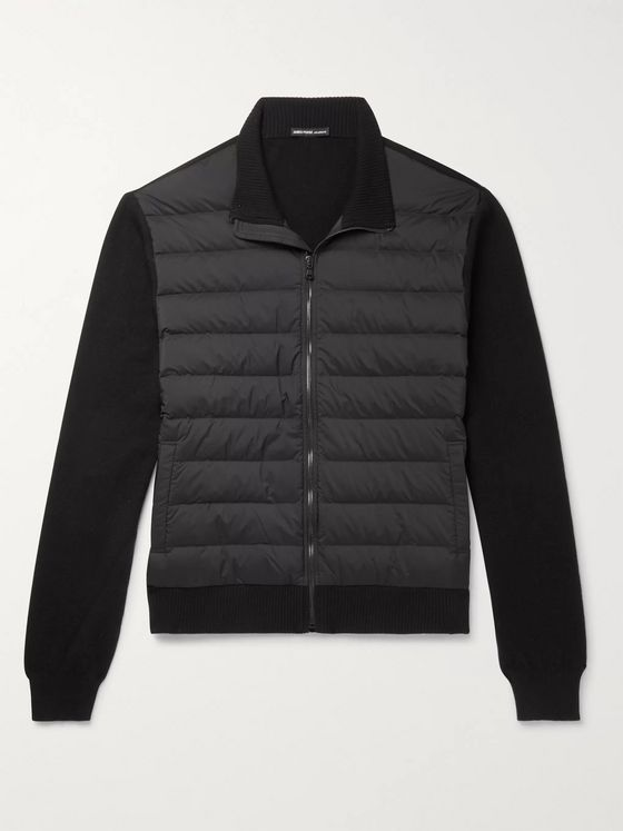 James Perse Shell-Panelled Merino Wool and Cashmere-Blend Down Jacket
