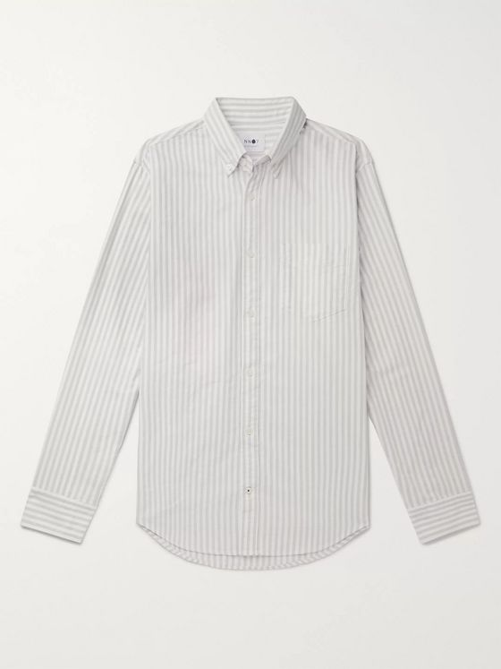 NN07 Levon Slim-Fit Button-Down Collar Striped Cotton Oxford Shirt