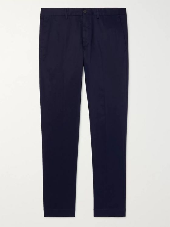 Incotex Navy Slim-Fit Stretch-Cotton Gabardine Chinos
