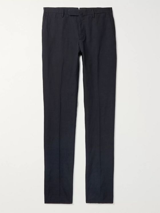 Incotex Slim-Fit Cotton and Linen-Blend Trousers