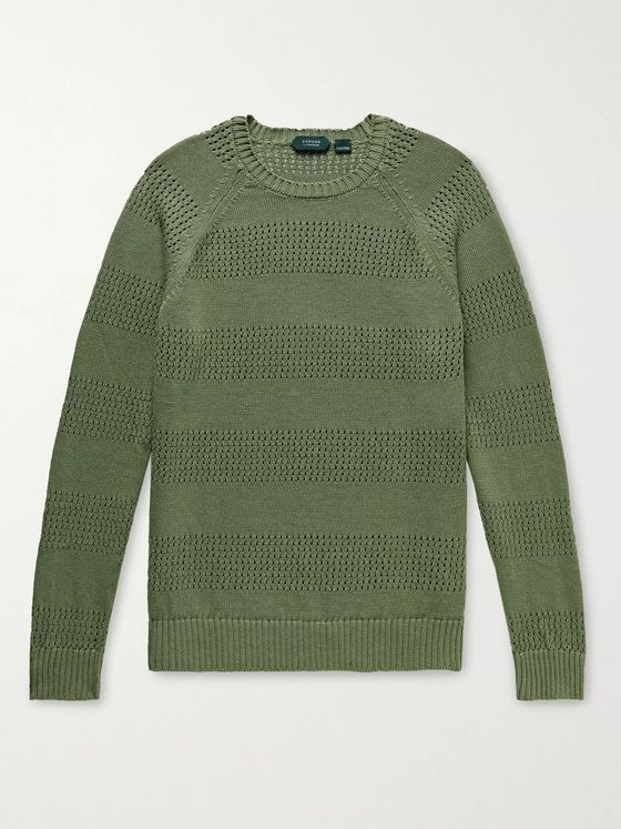 Incotex Pointelle-Knit Linen and Cotton-Blend Sweater
