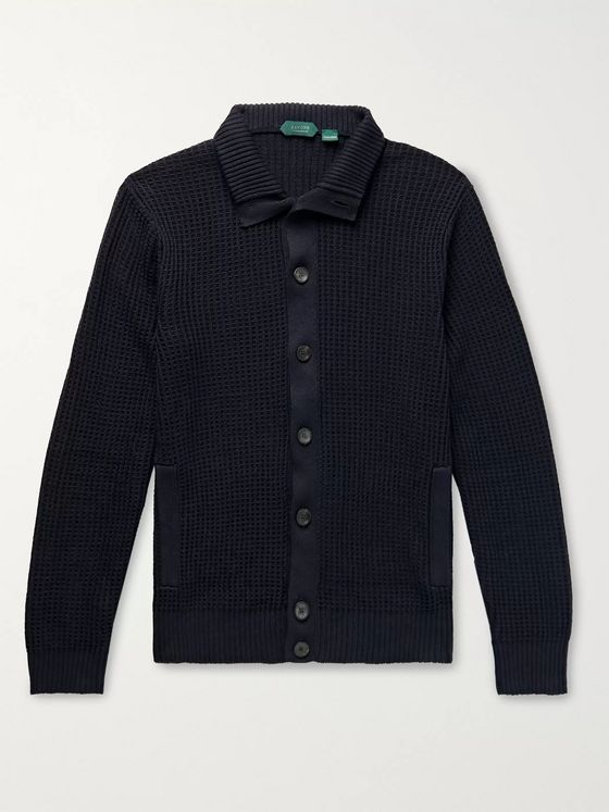 Incotex Chioto Slim-Fit Waffle-Knit Linen and Cotton-Blend Cardigan