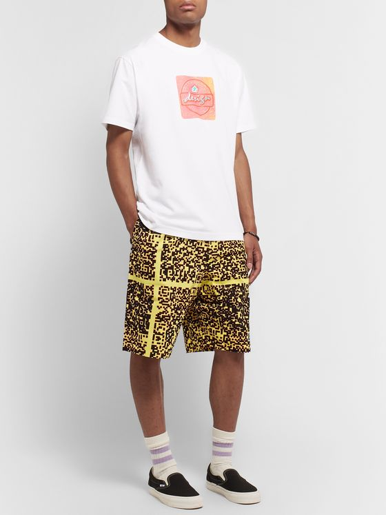 Cav Empt Noise Wide-Leg Pleated Printed Cotton Shorts