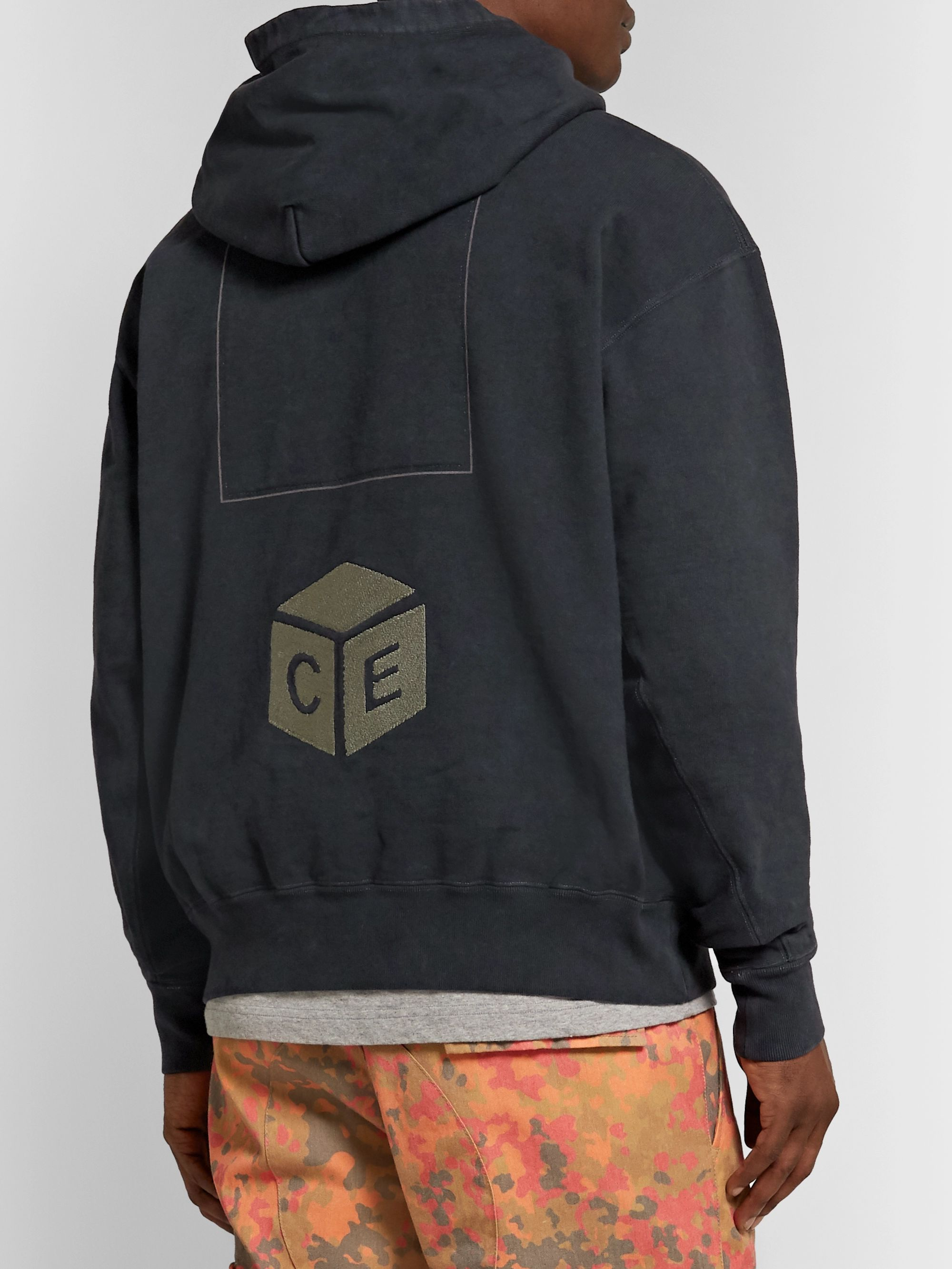 Cav Empt Logo-Embroidered Loopback Cotton-Jersey Hoodie