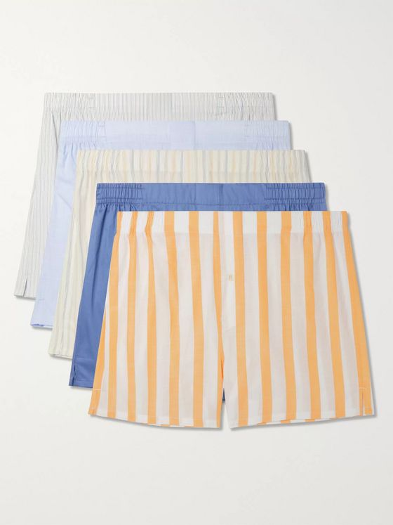 Hamilton and Hare Five-Pack Slim-Fit Cotton Boxer Shorts