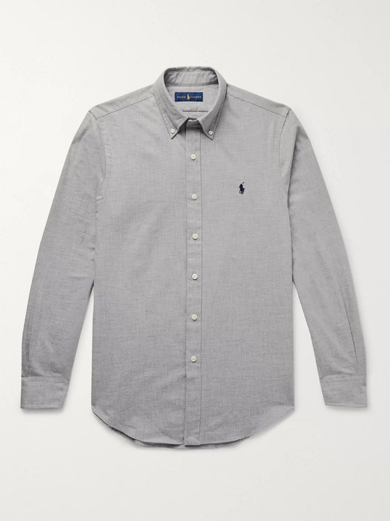 Polo Ralph Lauren Slim-Fit Button-Down Collar Mélange Cotton-Flannel Shirt