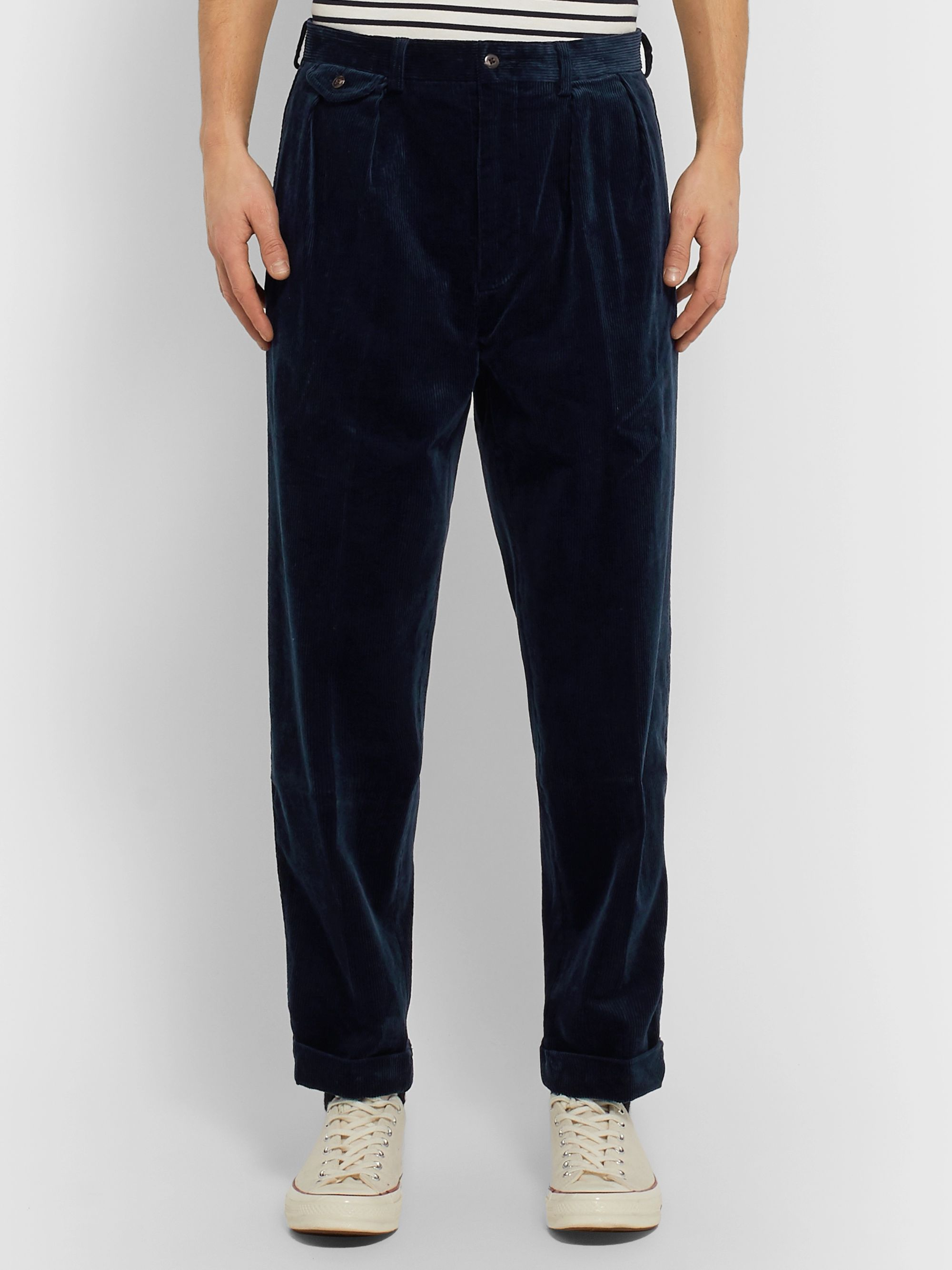 Polo Ralph Lauren Navy Tapered Pleated Cotton-Blend Corduroy Trousers