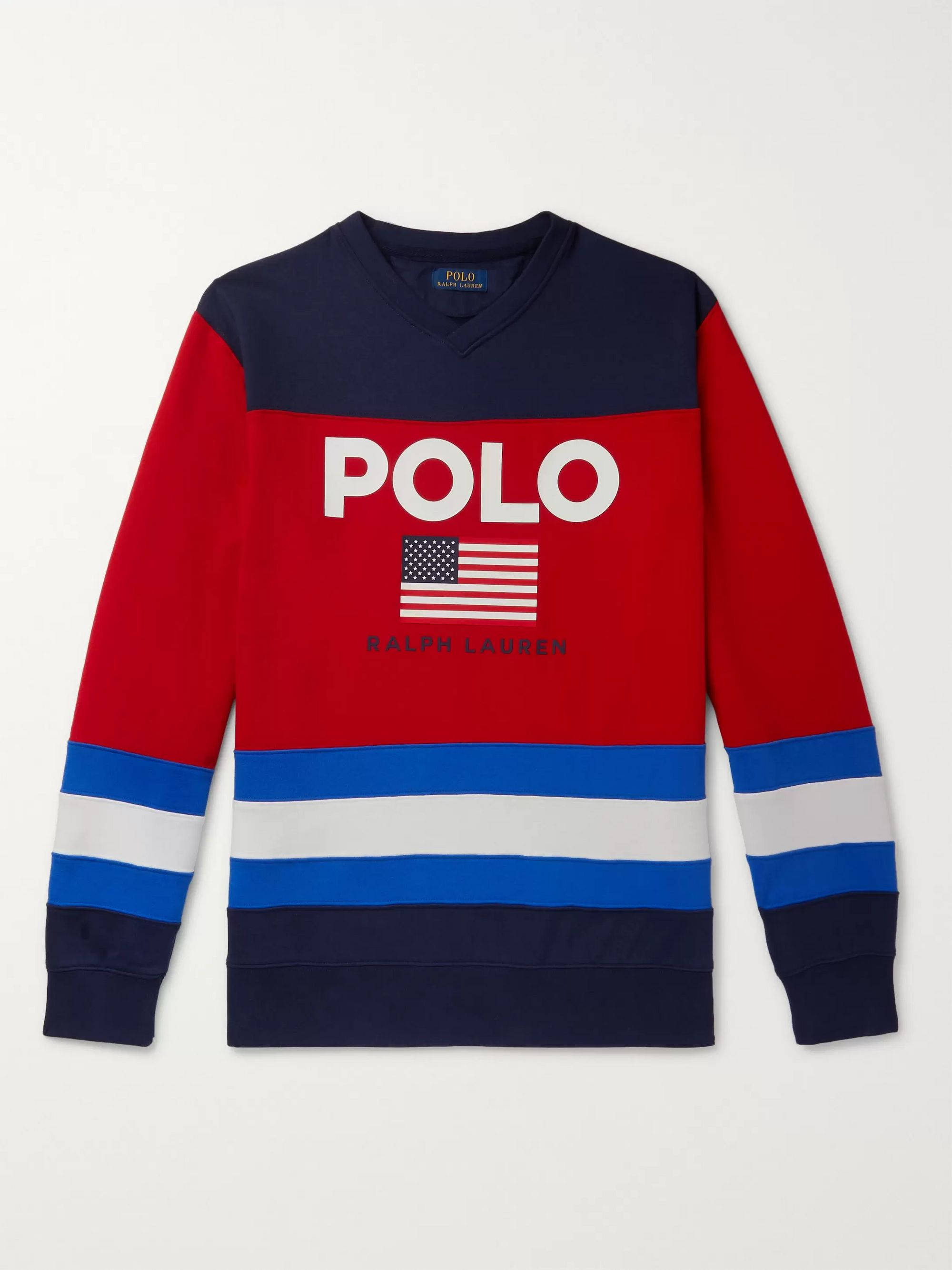 Polo Ralph Lauren Logo-Print Colour-Block Fleece-Back Cotton-Blend Jersey Sweatshirt