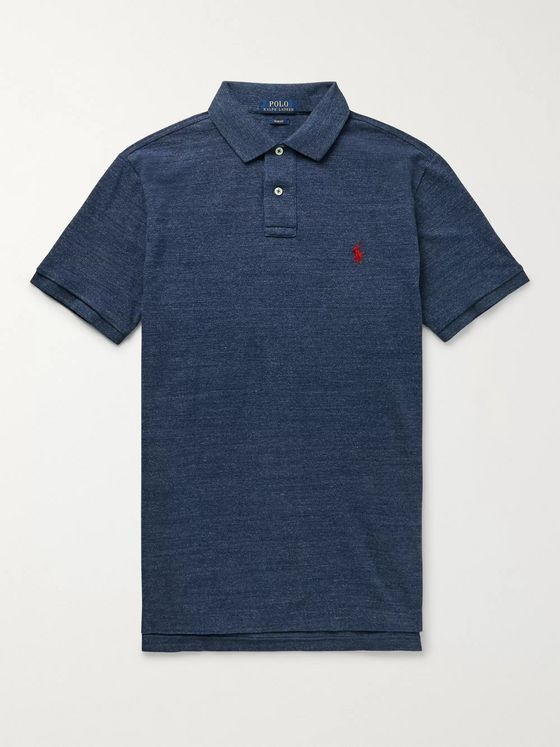 Polo Ralph Lauren Slim-Fit Mélange Cotton-Piqué Polo Shirt