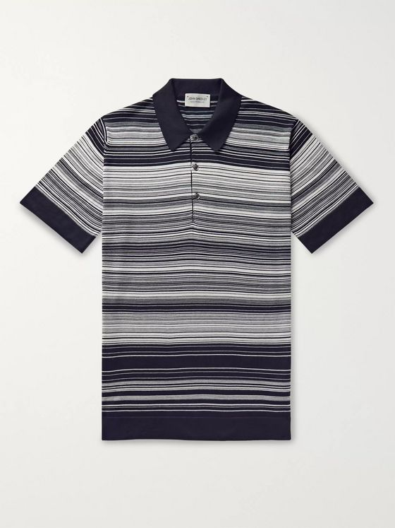 John Smedley Timber Striped Sea Island Cotton Polo Shirt