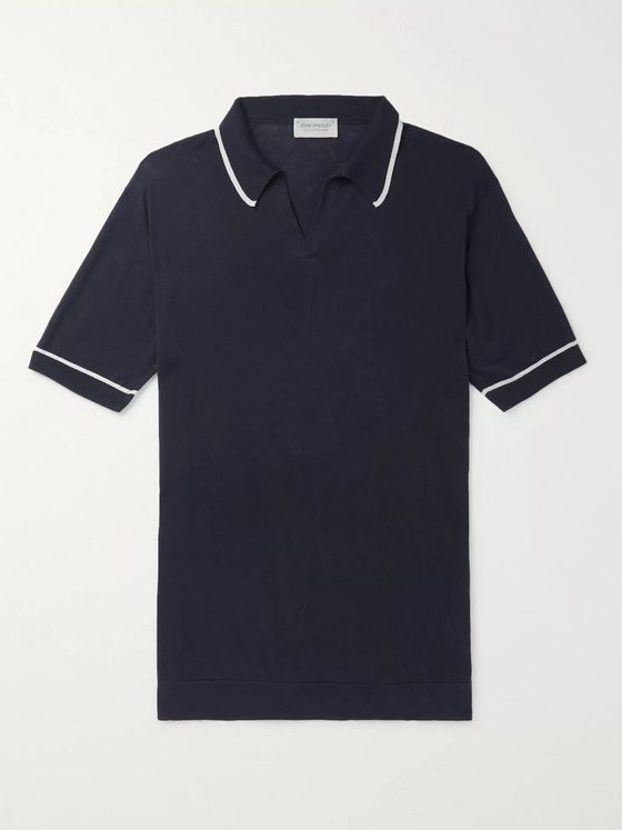 John Smedley Saxon Slim-Fit Contrast-Tipped Sea Island Cotton Polo Shirt