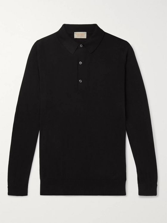 JOHN SMEDLEY Lanlay Slim-Fit Sea Island Cotton and Cashmere-Blend Polo Shirt