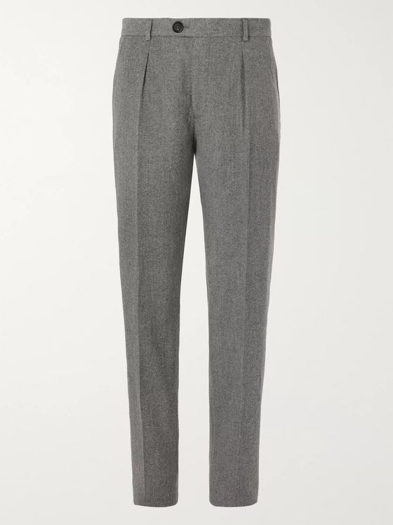 Oliver Spencer Pleated Cotton and Wool-Blend Trousers