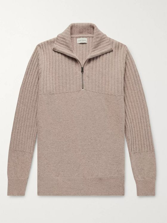 Oliver Spencer Ribbed Wool Half-Zip Sweater