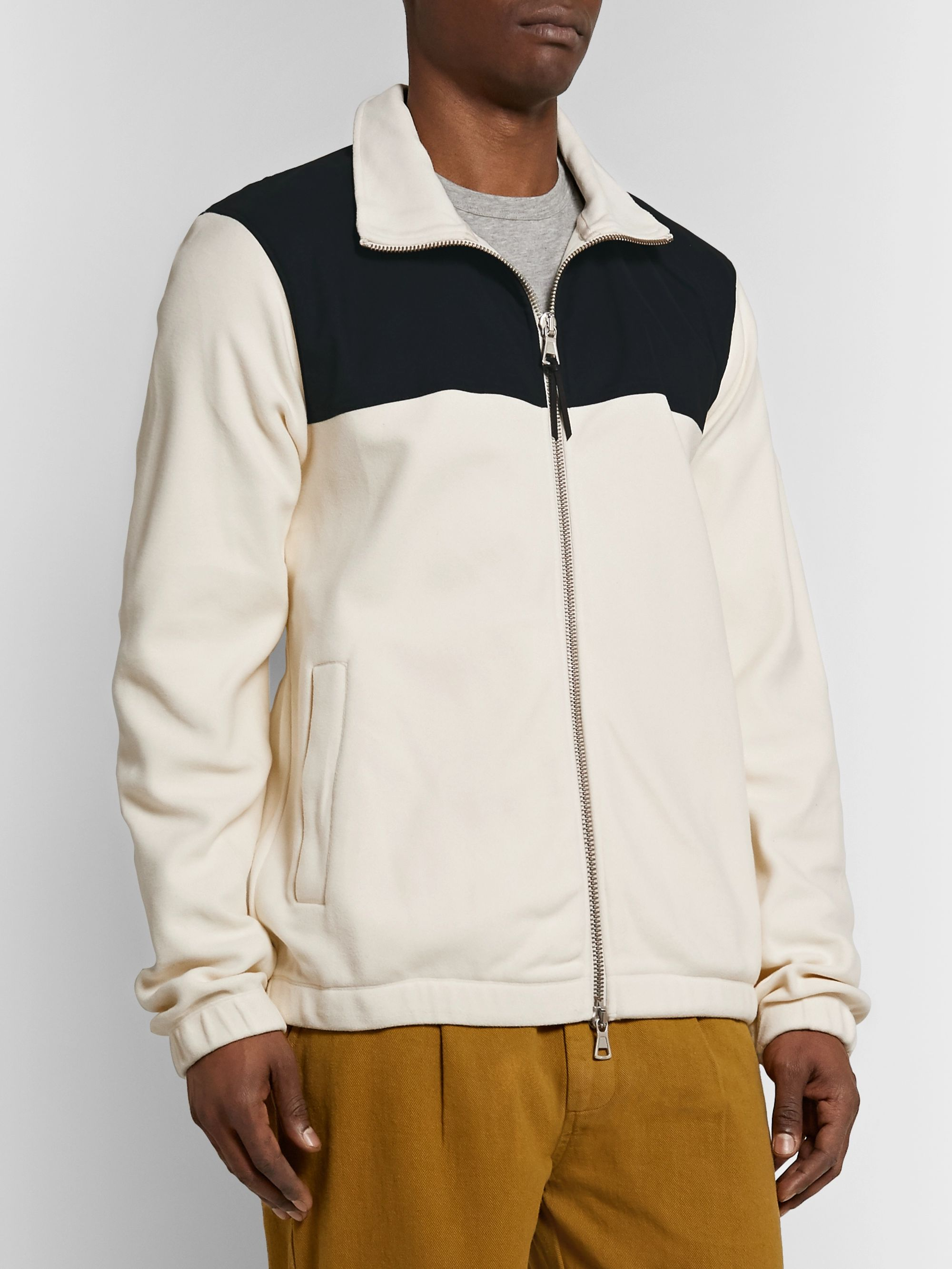 Albam Canvas-Panelled Fleece Jacket