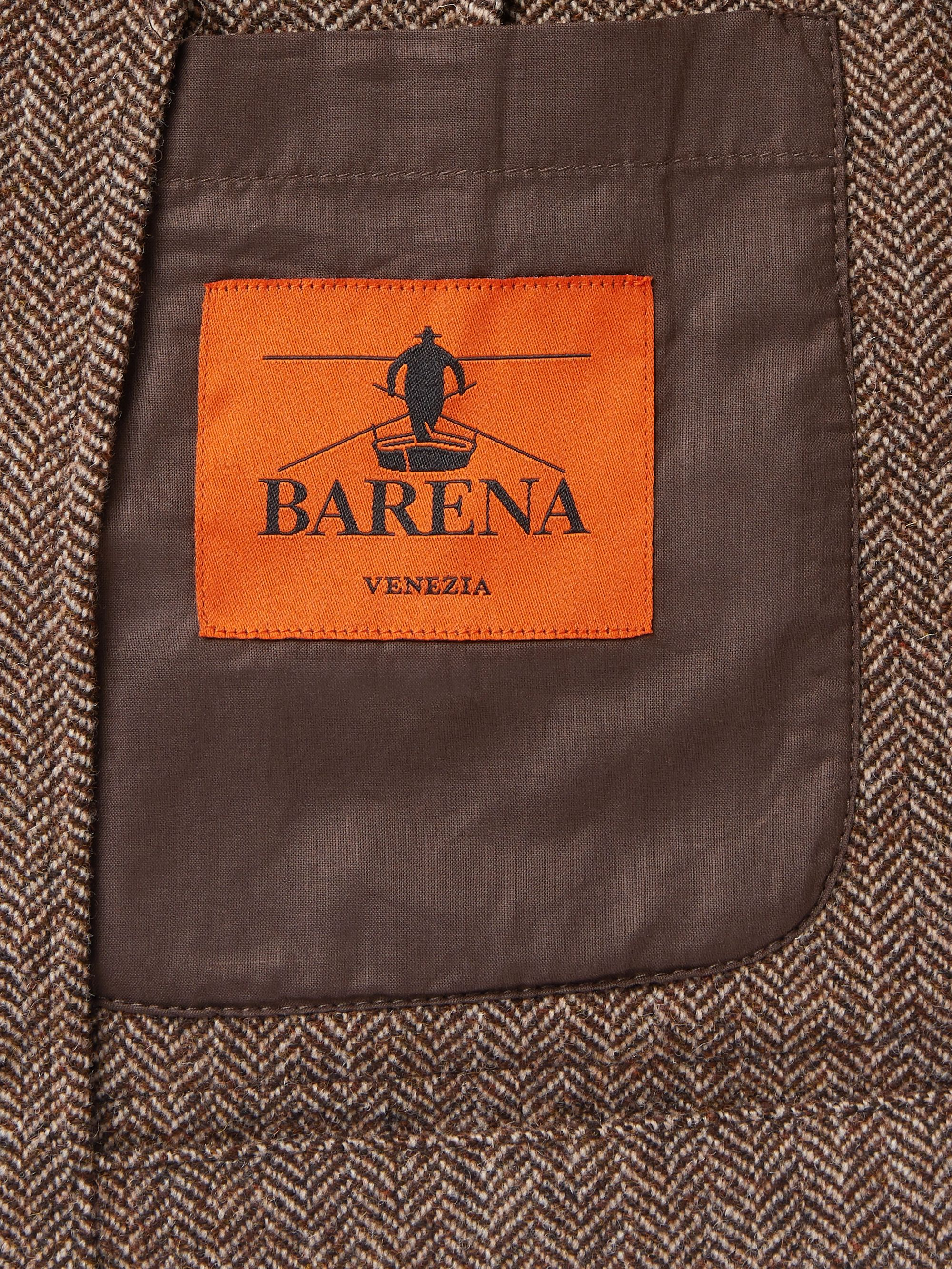 Barena Brown Slim-Fit Unstructured Herringbone Virgin Wool-Blend Blazer