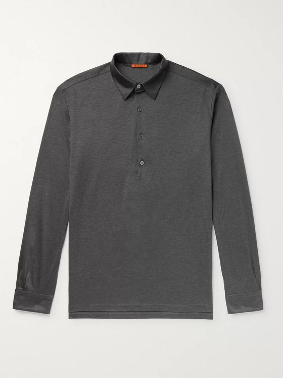 Barena Mélange Cotton-Jersey Polo Shirt