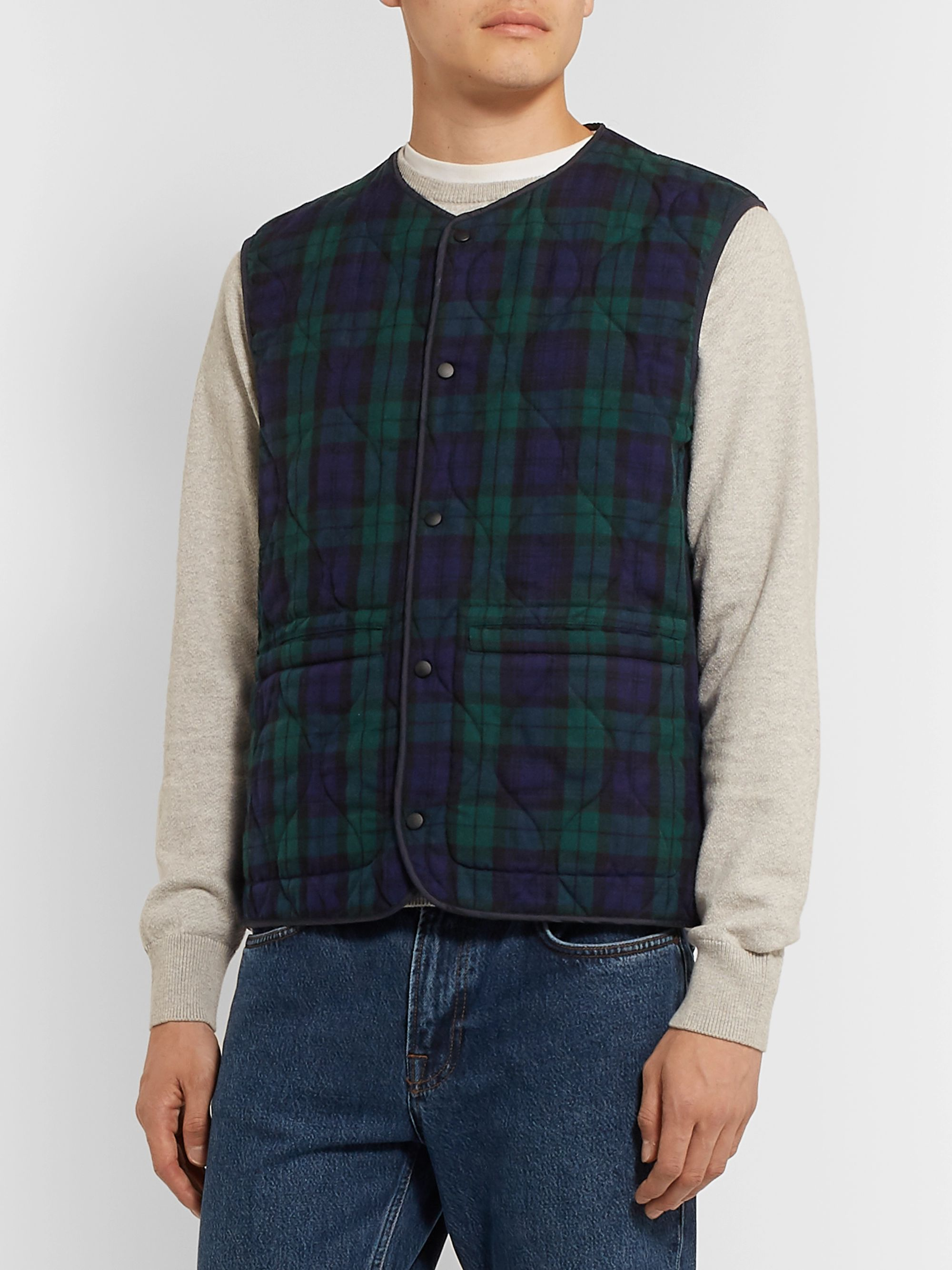 Aspesi Slim-Fit Reversible Checked Twill and Quilted Shell Gilet