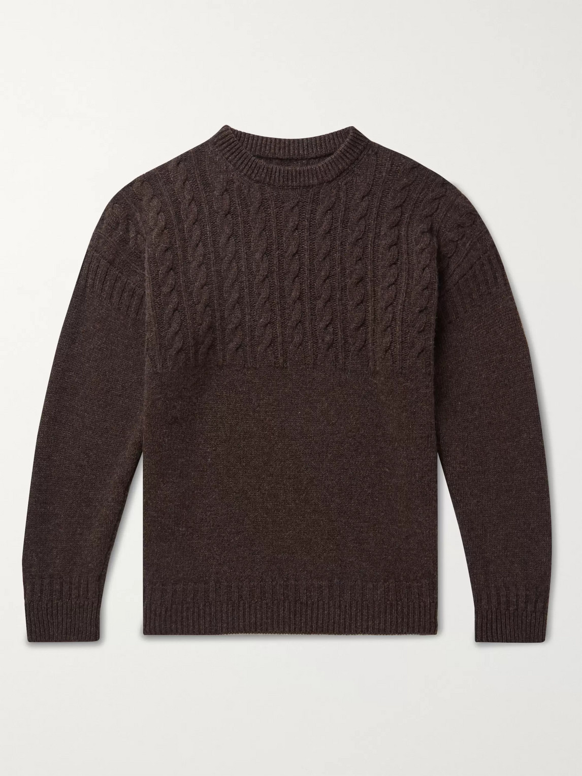 Kingsman Cable-knit Wool And Cashmere-blend Sweater In Brown