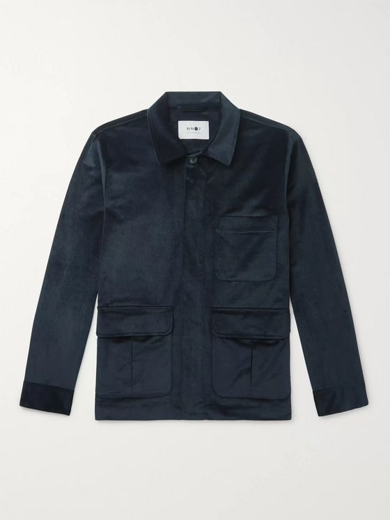 NN07 Verne Stretch Cotton and Modal-Blend Velvet Overshirt