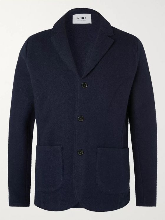 NN07 Darren Navy Unstructured Boiled Wool Blazer