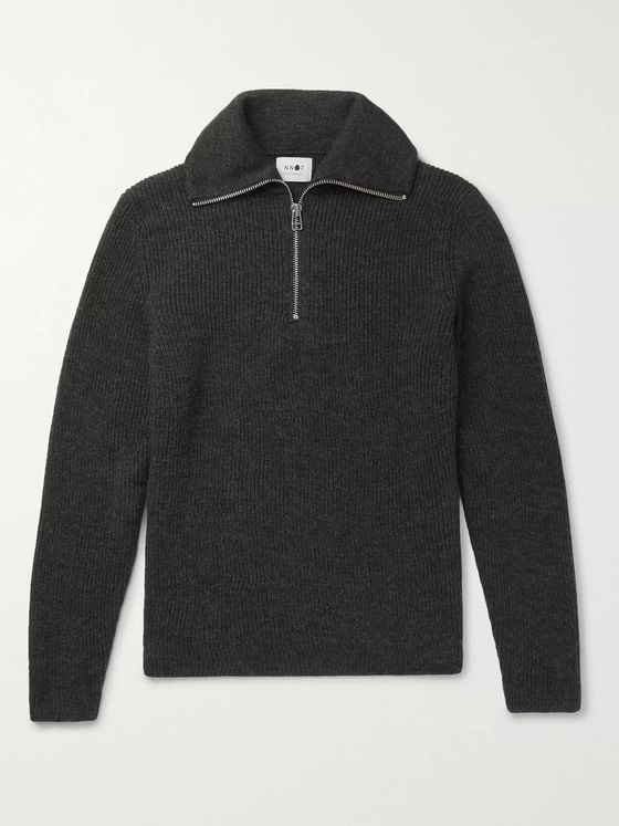 NN07 Holger Ribbed Mélange Wool Half-Zip Sweater