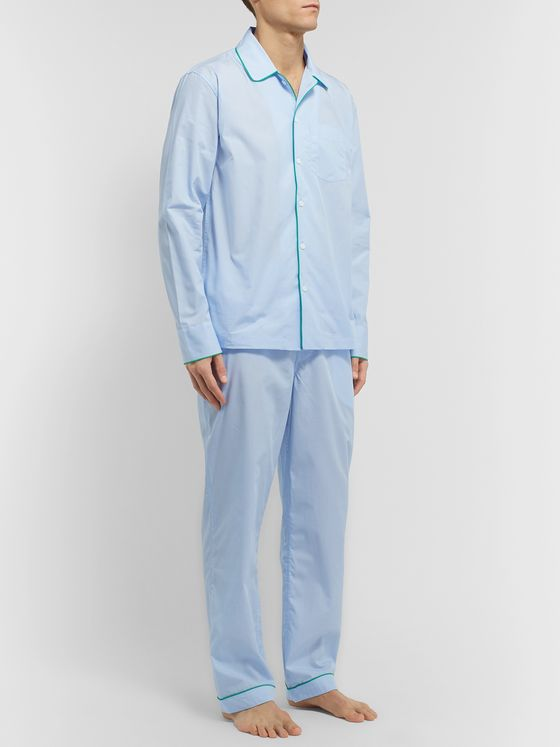 Sleepy Jones Henry Piped Cotton-Poplin Pyjama Set