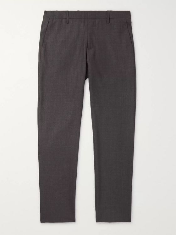 NN07 Grey Theo Slim-Fit Mélange Flannel Trousers