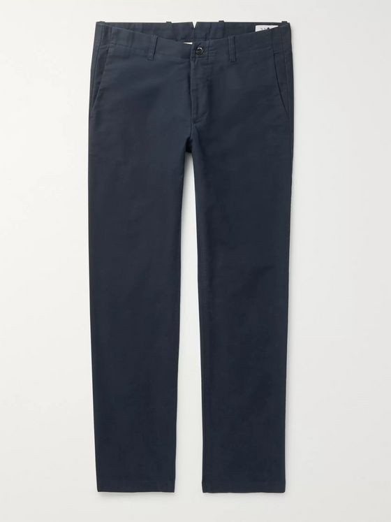 NN07 Navy Steven Slim-Fit Tapered Cotton-Blend Twill Chinos