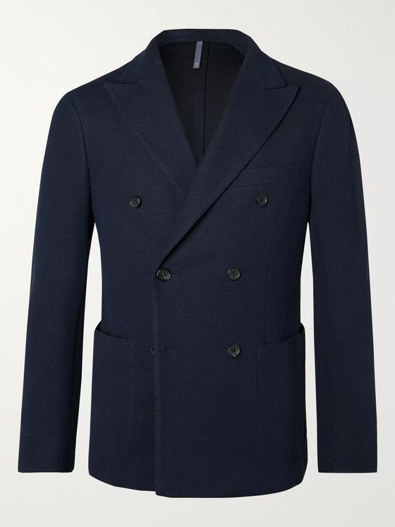Incotex Navy Slim-Fit Unstructured Double-Breasted Cotton-Piqué Blazer