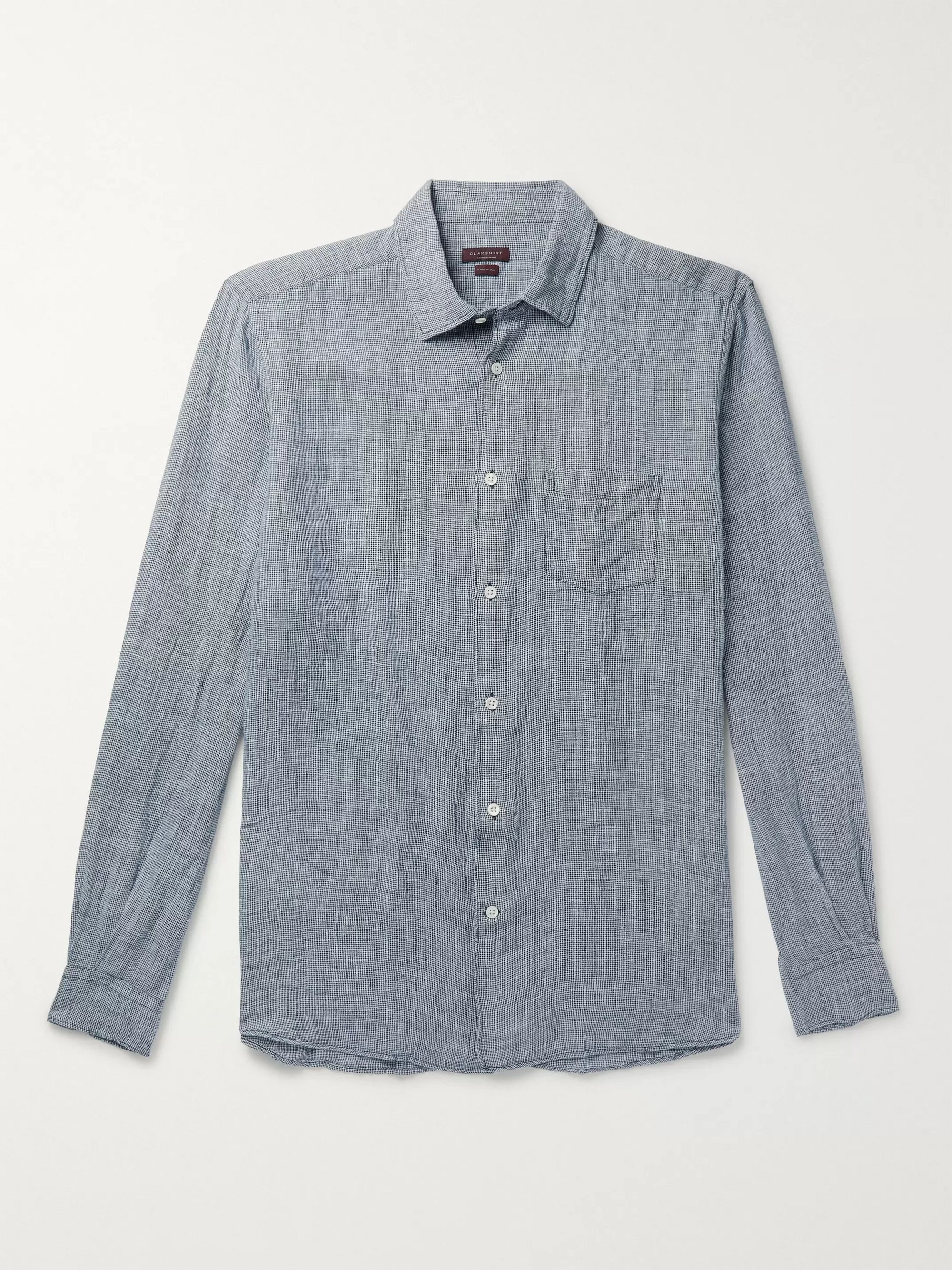 Incotex Slim-Fit Puppytooth Linen Shirt