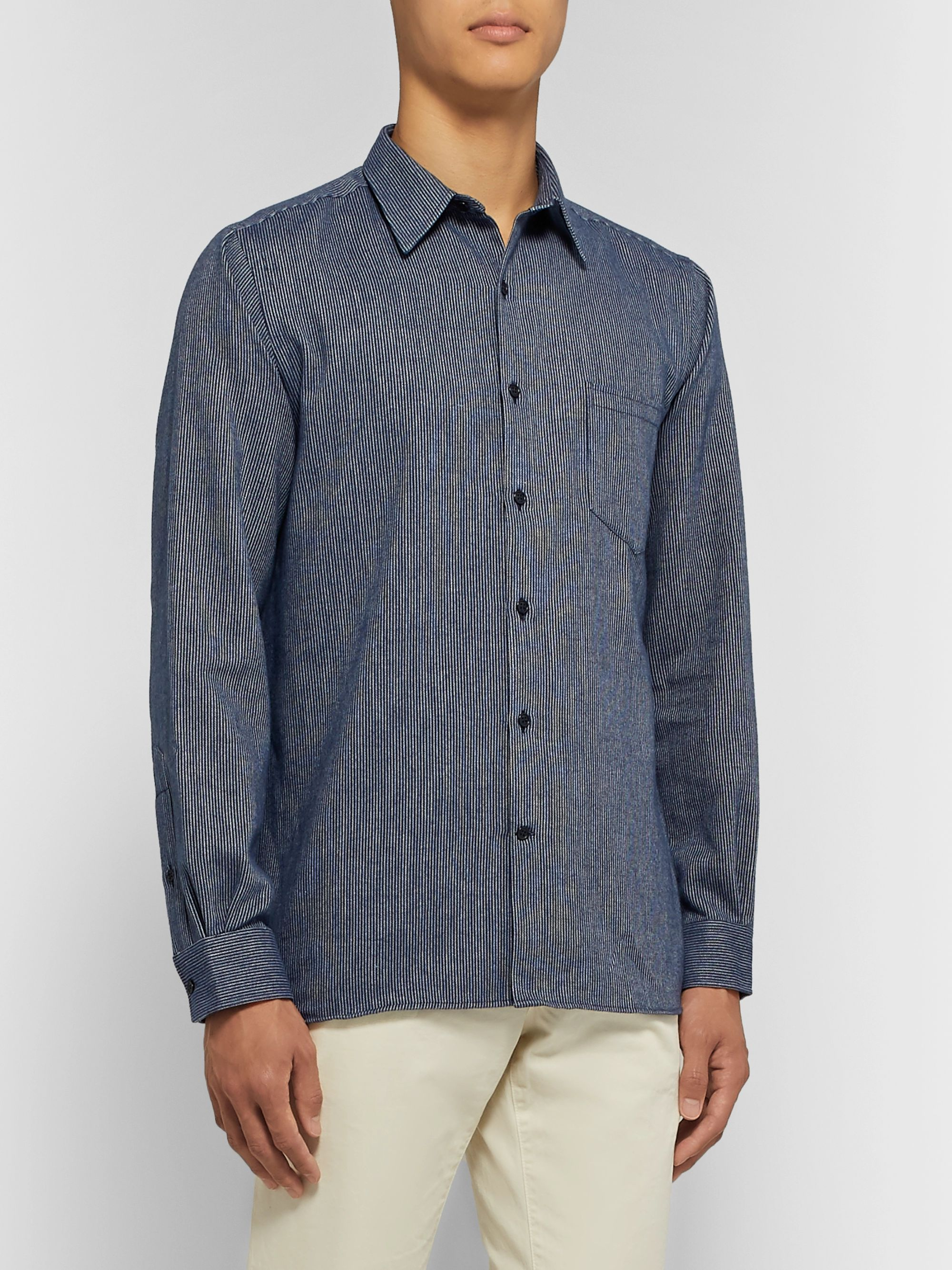Freemans Sporting Club Striped Brushed-Cotton Shirt