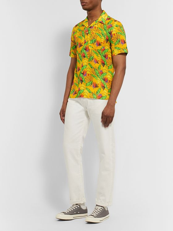 VILEBREQUIN Camp-Collar Printed Cotton and Linen-Blend Shirt