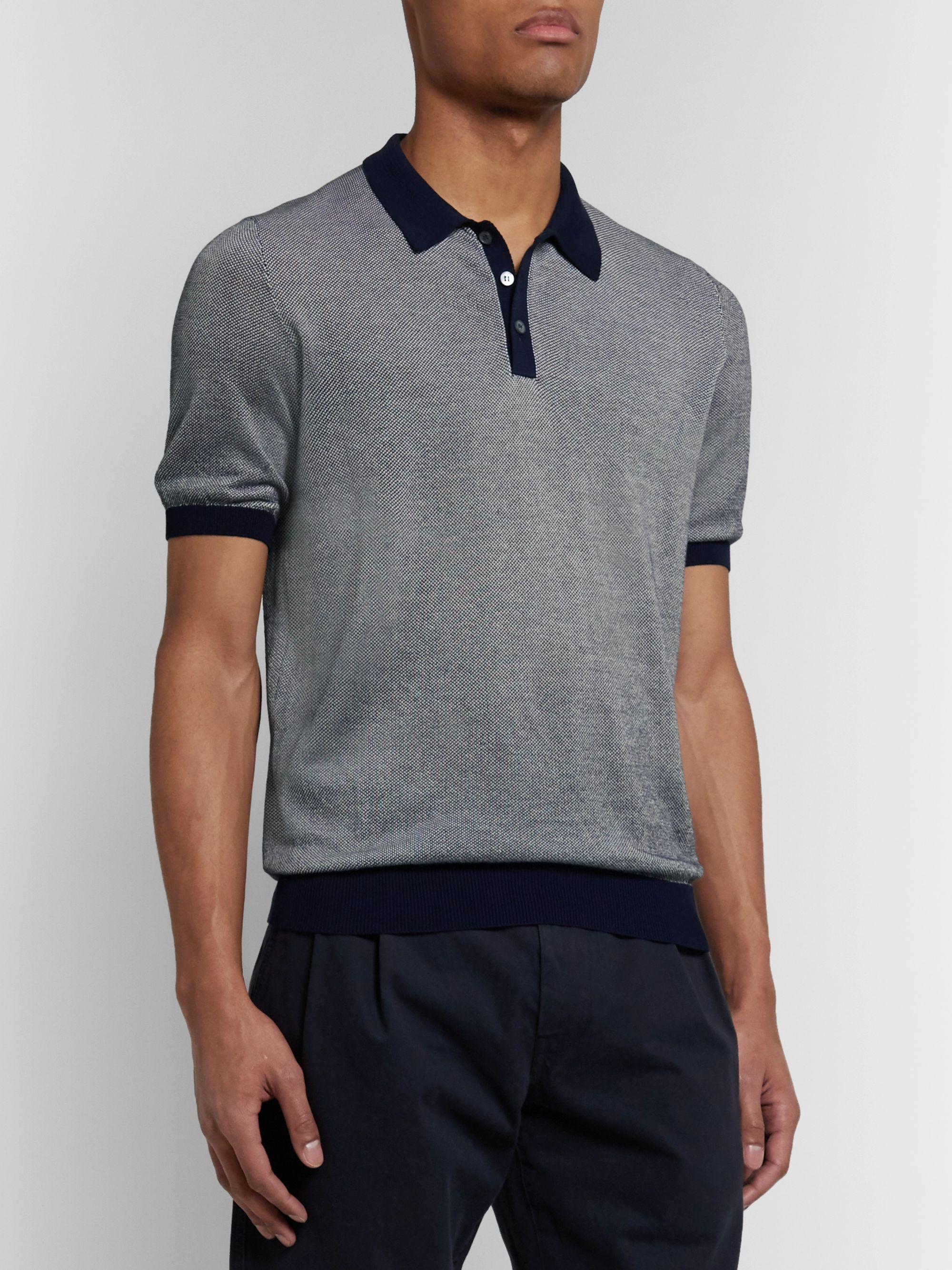 Incotex Slim-Fit Birdseye Cotton Polo Shirt