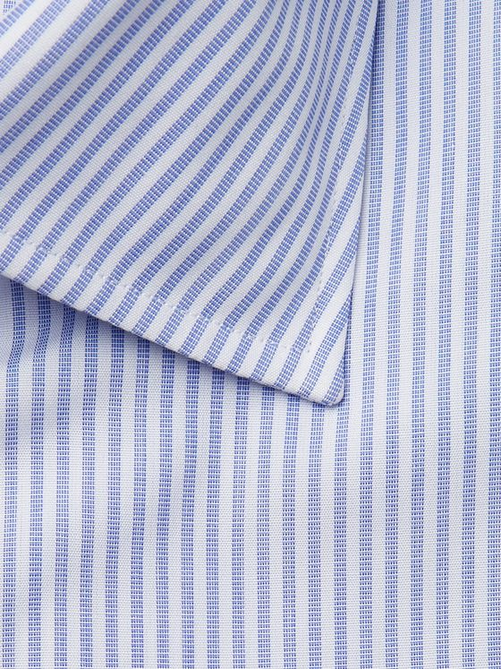 Sid Mashburn Blue Striped End-on-End Cotton Shirt
