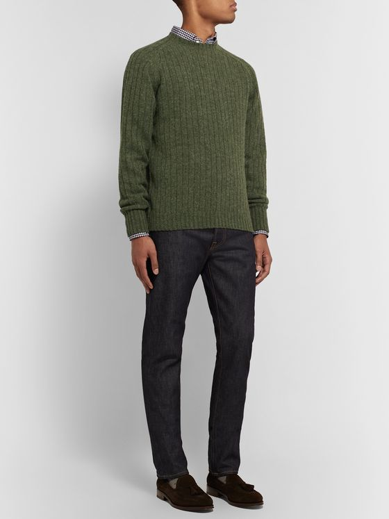 Sid Mashburn Ribbed Mélange Wool Sweater