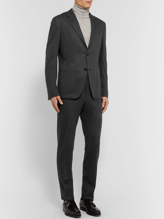 Ermenegildo Zegna Grey Slim-Fit Brushed Cashmere and Cotton-Blend Suit