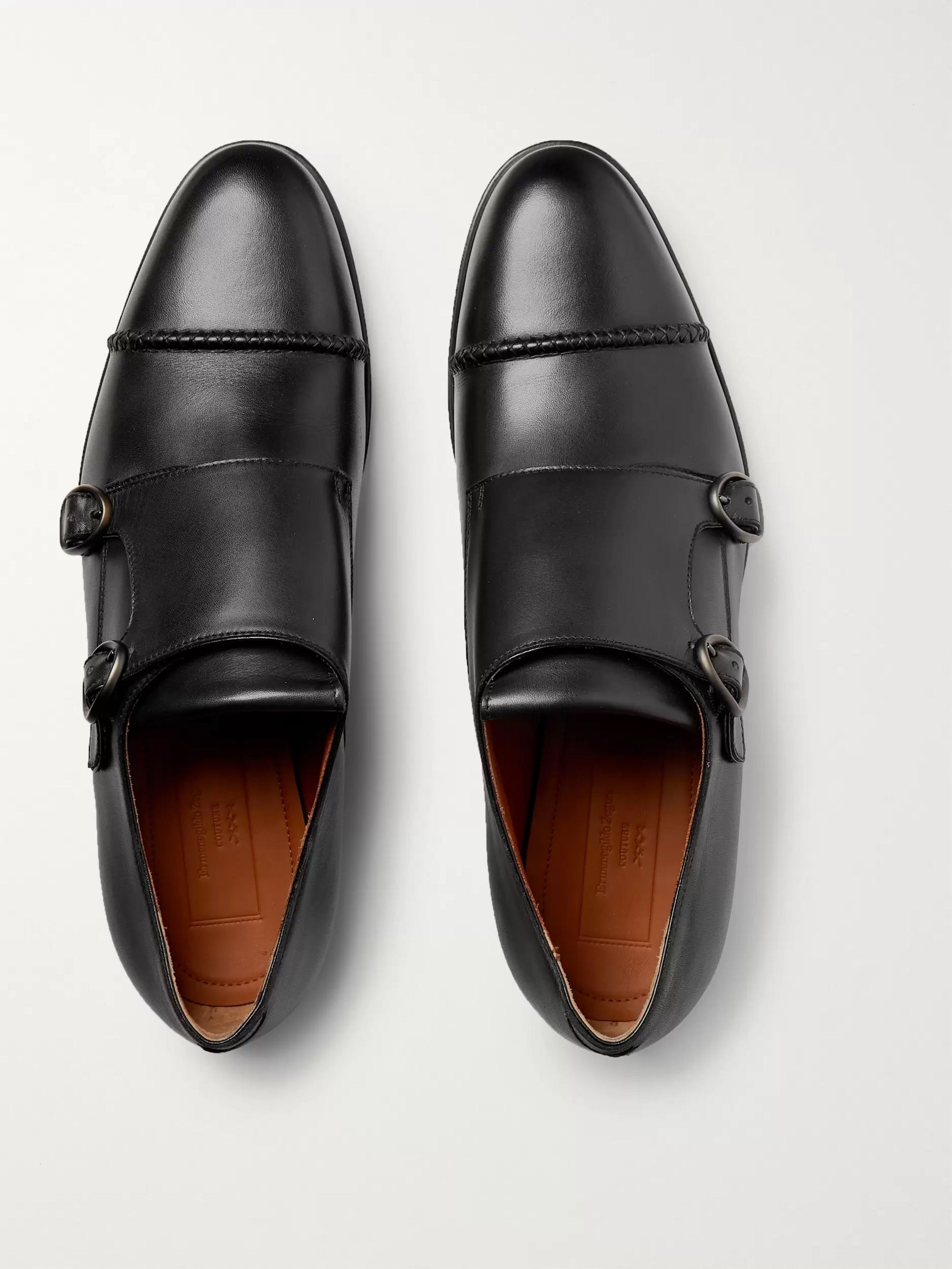 Ermenegildo Zegna Cap-Toe Leather Monk-Strap Shoes